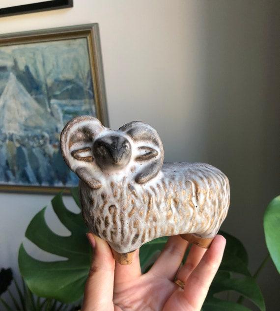 Swedish ceramic ram figurine 1960s Scandinavian/ Szilasi of Wisby Sweden from the island of Gotland