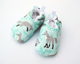 Classic Vegan Aqua Fox / All Fabric Soft Sole Baby Shoes / Made to Order / Babies