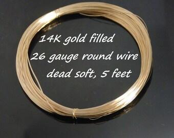26 gauge 14K gold filled dead soft round wire, 5 feet