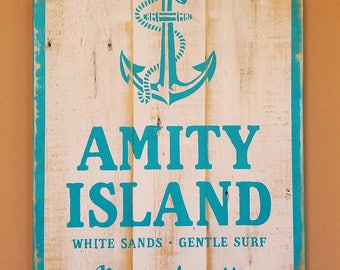 Rustic Decor Amity Island Sign, Nautical Decor, Jaws Movie, Reclaimed Wood Sign, Pallet Wood, Awesome Man Cave Sign