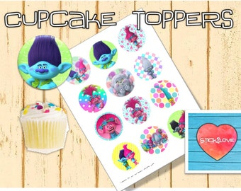 "Trolls printables 2 "" circles  cupcake toppers stickers"