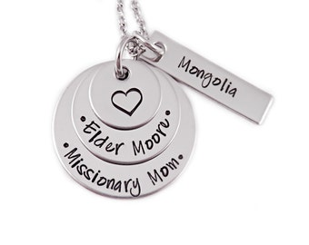 Personalized Missionary Mom Necklace - Engraved Steel Missionary Necklace - Mission Calling - LDS - Called To Serve - Mormon - 1222