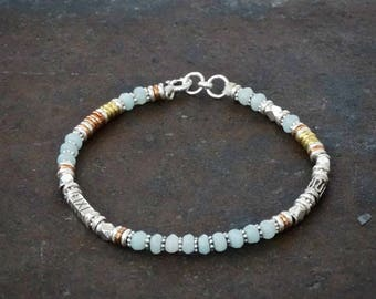 Amazonite Bracelet, Gemstone Bracelet, Beaded Bracelet, Boho Bracelet, Mixed Metals, Sterling Silver, Copper, Brass