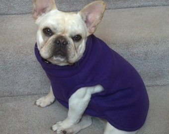 French Bulldog Pretty Purple Fleece Pullover Jacket with Stand Up Collar