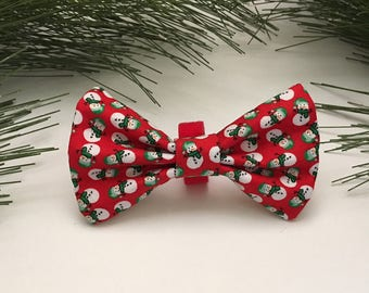 Red Snowman Dog Bowtie, Holiday Pet Accessory, Dog Christmas Neckwear