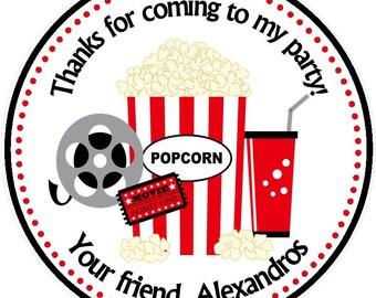 Movie Night - Party Favor Tags / Movie Birthday Party Favors - Movie night Birthday / Movie night favor tags