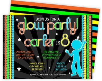 Glow Party Invites, Glow Invitation, Glow Invites, Glow Party, Glow Dance Party, Dance Invitation, Neon Invitation, Disco Invitation  No.547