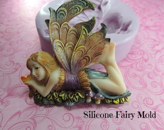 Fairy Girl Mold, Flowers, Silicone Mold, Wings Fairy Silicone Molds, Chocolate, Fondant, Soap, Polymer Clay, Wax Fairy Mold, Mould