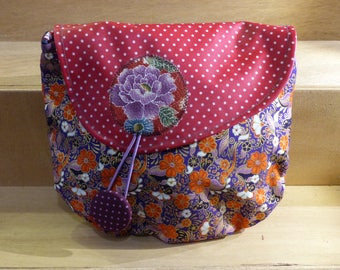 Fabric bag PXS4 Asian purple with flowers Orange ave a flap red oilcloth with dots