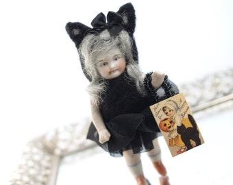Black Cat Halloween Needle Felted Doll Anthropomorphic Art Doll German Doll Parts Dollhouse Doll Lorelie Kay Original