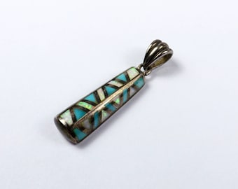 Southwest Sterling Silver TURQUOISE Opal Pendant Signed Southwestern Santa Fe Boho Charm Channel inlay