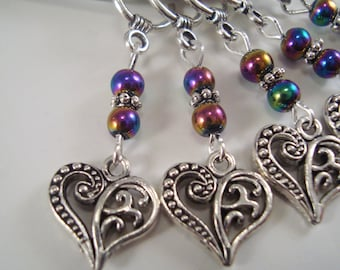 Ornate Hearts Stitch Markers Be my Valentine Florentine Set of 5/SM205A