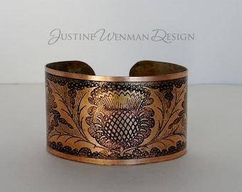 Copper Cuff Etched w/ Thistle Motif, Scottish, Botanical, Flower, Woman's Bracelet