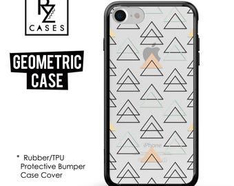 Geometric Phone Case, Geometric iPhone Case, Silicone Rubber Case, Triangle Case, iPhone 7, Gift for Her, 7 Plus, iPhone 6S, Bumper Case