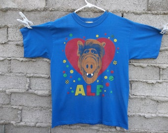 Vintage T-shirt 1980s 80s ALF TV Sitcom Comedy Family Kids Show Cult Classic Medium Alien Life Form