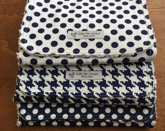 Burp Cloths, Boy Girl, Navy White, Gender Neutral, Baby Shower, Contoured, Terry Cloth, Cotton, Modern, Polka Dot, Houndstooth, Set of 3