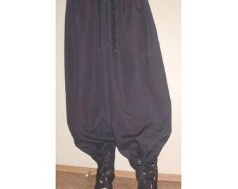New adult Large renaissance SCA black poly cotton pirate pants costumes costume