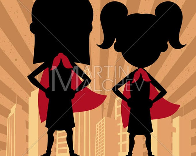 Super Kids 2 Girls - Vector Illustration. superhero, superheroine, super, hero, child, kid, girl, sister, friend, cousin, silhouette,