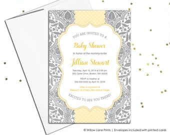 Gender neutral baby shower invitations for neutral baby shower invite - yellow and gray - lace - printable or printed - polkadots - WLP00778