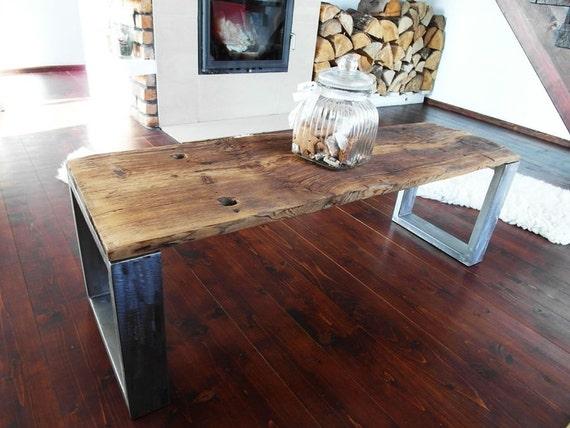 Tavolo da banco industriali a mano rustico legno recuperato for Tavolo legno acciaio