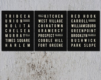 Subway Sign Art - New York Art Poster - Set of 3 Posters - Travel Art Poster - Industrial Chic - Gift for daughter