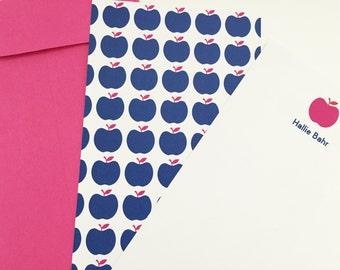 "apple print notecard (hot pink & royal blue), set of 25, 4"" W x 9.25"" H"