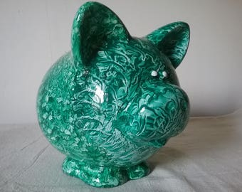 Piggy Bank vinegar painted in green
