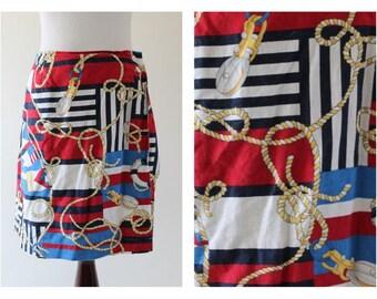 Vintage 80s Jones New York Nautical Skort / Skirt / Preppy