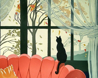 Autumn Musings print from original acrylic painting/cat/fall/retro/deco/print/rddt/print