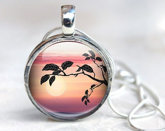 Tree Necklace - Sunset Necklace - Sunset Picture Necklace - Tree  Glass Pendant Necklace (TNS1)
