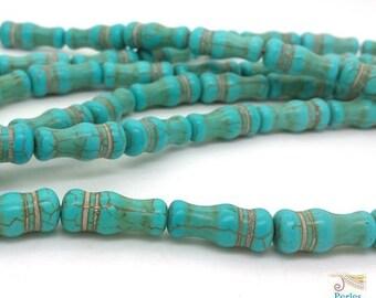5 bottle (PH189) 8x20mm turquoise howlite beads