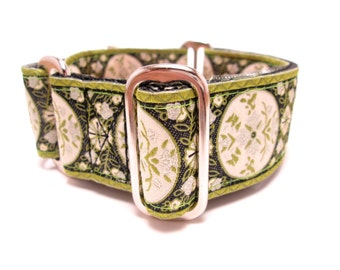 """Houndstown 1.5"""" Green Medallion Collar, Martingale or Buckle, Any Size"""
