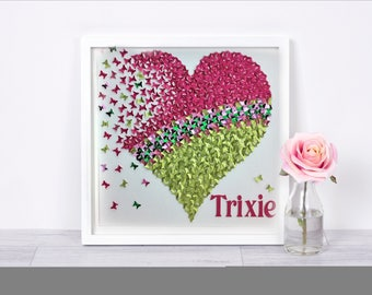 3d butterfly heart Hot Pink & Lime Green   | paper butterfly heart | wall art decor | wall art hanging frame