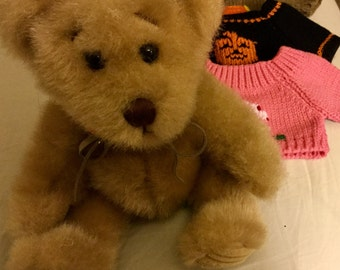 Vintage Minky Bear with 4 Seasonal Sweaters Set, Excellant Condition