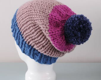 Mauve Super Chunky Beanie Hat - Pink Knitted Merino Wool Blue Pom Pom Hat Unisex Accessory Gift for Him or Her by Emma Dickie Design