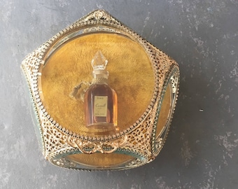 Vintage Brass and Glass Display Box, trinket box, beveled glass, ormolu