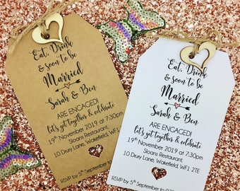 Engagement Party Invitation, Save The Date Card with Ring Charm, Personalised