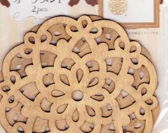 2 Pieces of Wood Ornament Lace Motif / Christmas tree / Wall Decor / Ceiling Decoration
