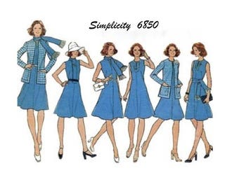 Simplicity 6850 - UNCUT- Size 12- Bust 34 - 1974 - Flared A-line Dress - Optional Long Scarf -  Unlined Cardigan Jacket Pattern