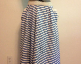 Vintage Blue and White Striped Skirt