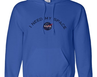 Men's I Need My Space NASA Embroidered Heavy Blend Hoodie Sweatshirt - Multi Color/Size
