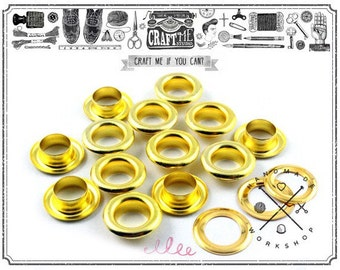 """100pcs 1/4"""" Hole GOLD Metal Grommets Eyelets with Washers For Bead Cores, Clothes, Leather, Canvas"""