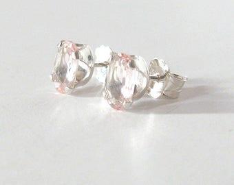 Morganite Gemstone Studs, Sterling Silver Post Earrings, Pale Pink Beryl, Oval 6x4mm Blush Pink Stone, Minimalist Earrings