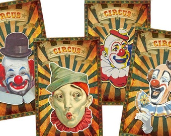 vintage Circus Big Top, Printable Clown Gift Tags, Digital Collage Sheet, Fall Carnival, Circus birthday party, scrapbook clip art, colorful