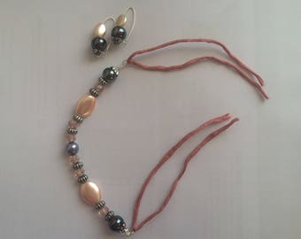 Beaded bracelet, Swarowski crystals and silk