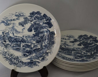 "One Enoch Wedgwood ""Countryside"" 10"" Dinner Plate circa 1940s (three available)"