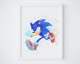 Sonic the Hedgehog, for free, and Heart Watercolor, ART PRINT, Gaming, Home Decor, Wall Art, kids decor, A3, A4, 8x10, PRINTABLE superhero.