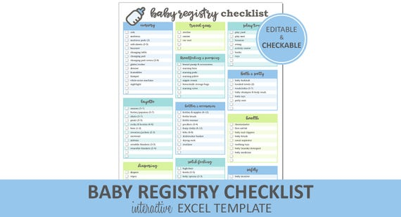 Baby Registry Checklist Editable Blue Printable Excel