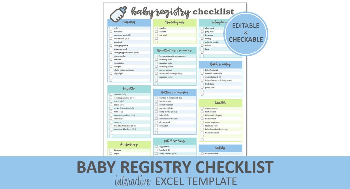 Baby Registry Checklist Editable Blue Printable Excel