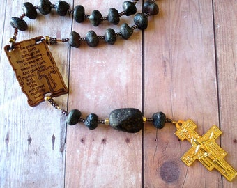 "Franciscan Crown Rosary of ""Stone Look"" Black Glass with Canticle of the Creatures Center and San Damiano Cross"